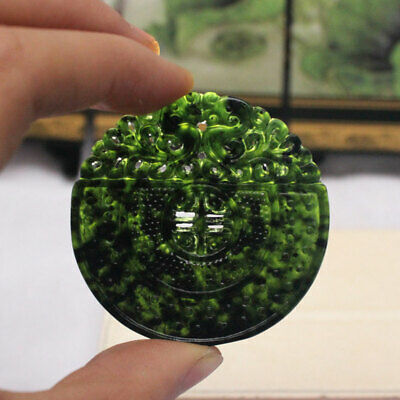 Natural Hand Carved Chinese Black Green Dark Jade Pendant Dragon Lucky Amulets