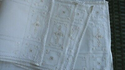 8 vintage HAND EMBROIDERED linen PLACEMATS imperfections use or repurpose
