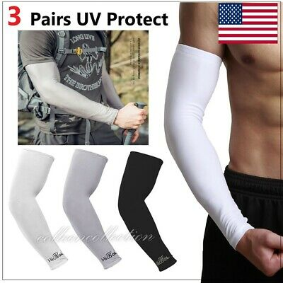 3 Pairs Cooling Sport Arm Stretch Sleeves Sun UV Protection Covers Cycling Golf