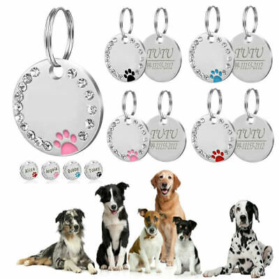 Personalised ENGRAVING Dog  / Cat  Name Bling Tag Puppy /Pet ID Tags