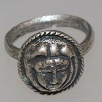 Ancient Greek Mount Silver Seal Ring Depicting Hermes Face Circa 300-100 Bc