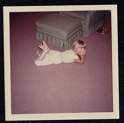 Vintage Photograph Cute Little Girl Laying on Floor in Living Room