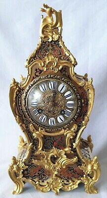 Antique Boulle Clock Japy Freres Mid 19c Signed Red Shell Pendulum Single Bell