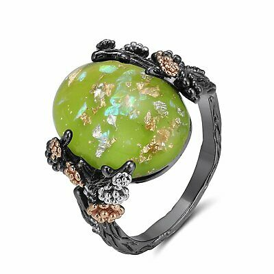 Henrietta Elven Tree Branch Setting Oval Green Stone Ring Ginger Lyne Collection