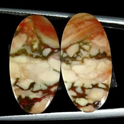 13.00Cts Natural American Picture Jasper Oval Pair Cabochon Loose Gemstone