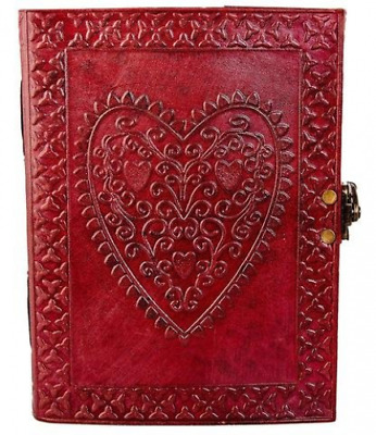 Large Vintage Heart Embossed Leather Journal/Photo Album Handmade Paper Bound
