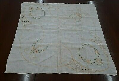 """Vintage 32"""" Square Embroidered BUTTERFLY Card Tablecloth or Dresser Scarf"""