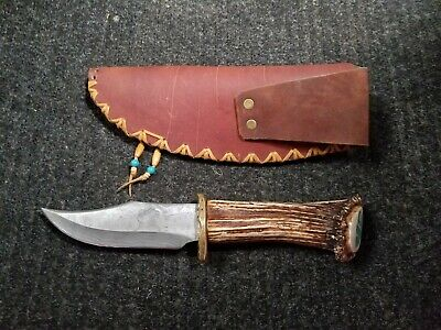 TURQUOISE / HORN Handle Damascus Fixed Blade SKINNER Knife