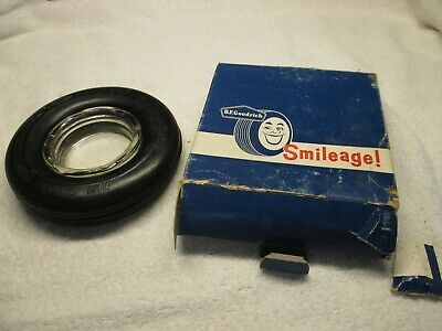Vintage BF Goodrich Tire Ashtray in Original Smileage Box, Advertising Ashtray