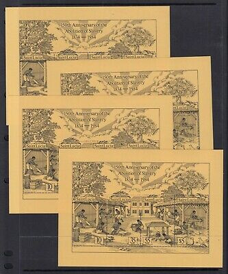 ST LUCIA 1984 ABOLITION OF SLAVERY 4 miniature sheets, Mint Never Hinged