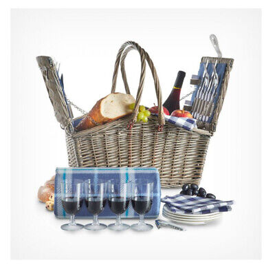 New Basket Insulated Cooler 4 Person Navy Picnic Hamper Family Shopping Lunch