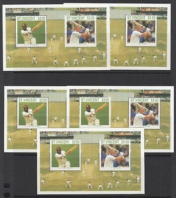 ST VINCENT 1988 CRICKET 5 miniature sheets, Mint Never Hinged