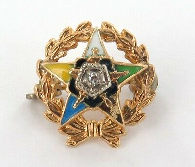 Vintage 10K Gold & Diamond Order Of The Eastern Star Tiny Pin.