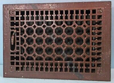 Antique Primitive  Cast Iron Heat Grate Floor Vent Register With Louveres