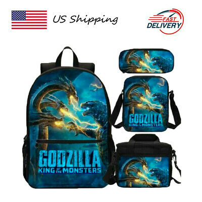 US Godzilla: King of The Monsters School Bag 4PCS Bookbag Set Kids Backpack Lot