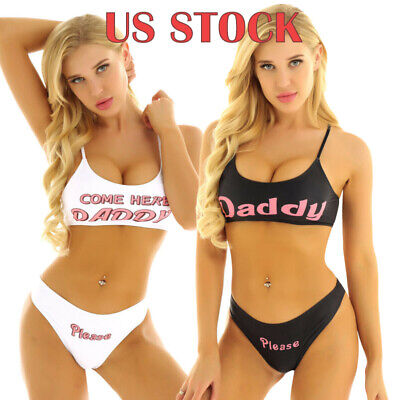 Women Yes Daddy Print Sexy Lingerie Bra and Panties Knickers Set Night Underwear