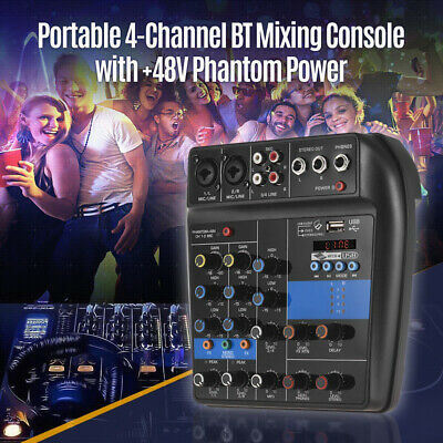 USB Digital 4 Channels Sound Mixing Console Karaoke Record Audio Mixer Cord