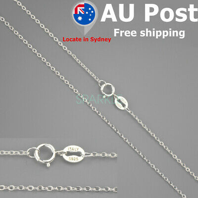 Genuine S925 Sterling Silver Curb Chain Necklace All Inches Stamped Italy Gift