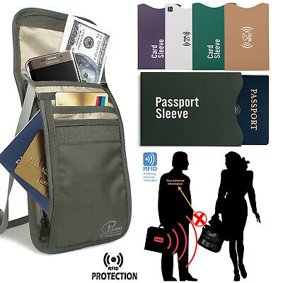 Family Passport Holder with Rfid, Neck Stash Security Travel Wallet Waterproof