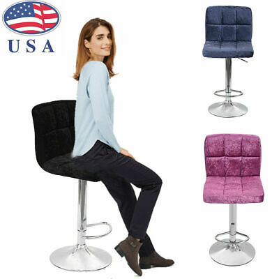 2PC Modern Home Bar With Snowflake Velvet Bar Chair Seat Plating Foot bar Table