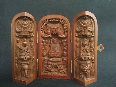Collection Exquisite Hand Carving Chinese Old Boxwood Three Buddha Statue