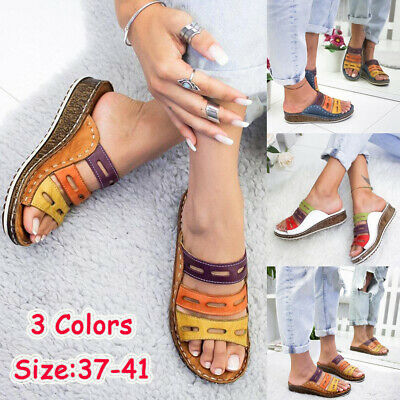 Womens Ladies Wedge Slip On Sandals Summer Low Heel Open Toe Mules Shoes Size4-7