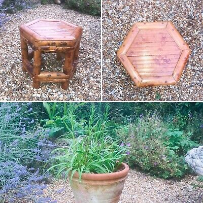 Vintage Bamboo Free Standing Plant Pot Stand Stool Hexagonal Small Display