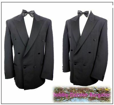"""M&S Mens Double Breasted Black Dinner Tuxedo suit Ch42""""R W36"""" L30"""" Prom Ball"""