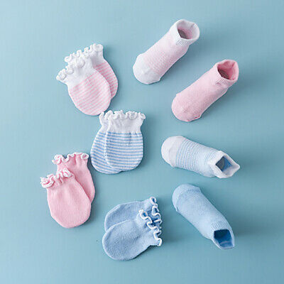 4 Pair Cotton Socks Gloves Baby Boy Girl Toddler Anti Scratch Soft Mittens Lot