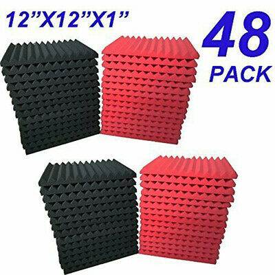 """48 Pack Black & Red 12""""X 12""""X1"""" Studio Soundproofing Foam Wedge Acoustic Panels"""