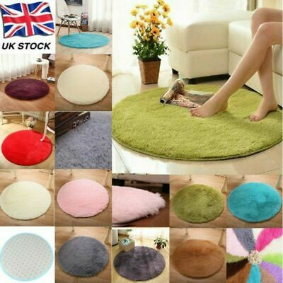 Fluffy Round Rugs Anti-Skid Shaggy Area Rug Dining Room Carpet Floor Mat Home UK