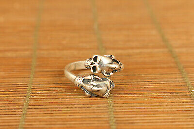 limited edition 925 Silver Hand Carving two skull man Cool Ring noble gift