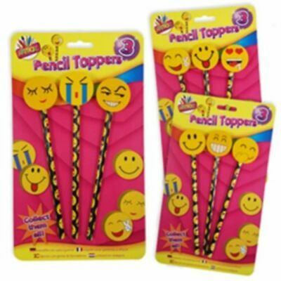 3 Pack Smiley Emoji Face Pencils & Eraser Toppers Emoji Gifts Party Funny 63379