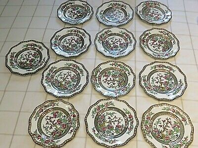 13 Coalport Indian Tree vintage scalloped bread and butter side plates