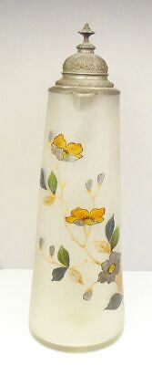 """Antique 15"""" Hand Painted Frosted Blown Glass German Floral Stein Beer Pitcher"""