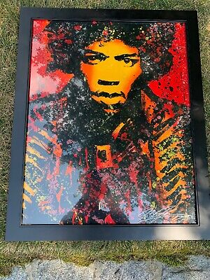 Jimi Hendrix 40x16in painting Not print Framing avail canvas marshall woodstock