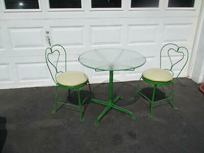 Vintage Ice Cream Parlor Soda Fountain Glass Table And Wrought Iron Chairs