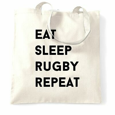 Novelty Tote Bag Eat, Sleep, Rugby, Repeat Slogan Sports Six Nations Match