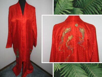 Antique Vintage Chinese Silk Kimono-Jacket-Opera Coat Embroidered Dragon Silk