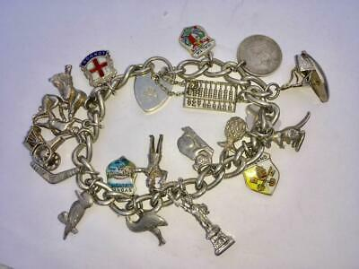 ANTIQUE / VINTAGE STERLING SILVER CHARM BRACELET WITH 19 x CHARMS (AUSTRALIAN)