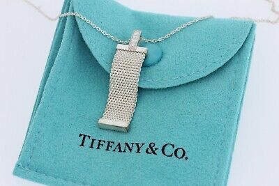 Tiffany & Co Sterling Silver Somerset Mesh Weave 4 Diamond Pendant Necklace