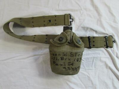 Vtg 40s WW2 Era Canteen & Web Belt ID'd Named US Army WWII