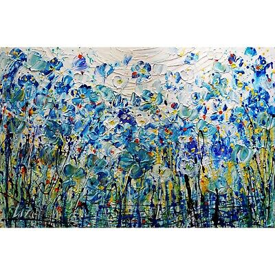 BLUE RHAPSODY Flowers Oil Painting impasto textured colorful landscape Art