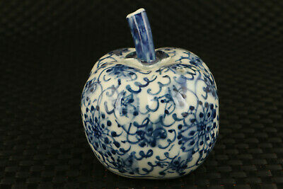 unique chinese old blue and porcelain apple statue water pot