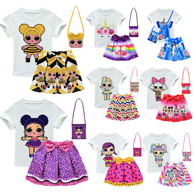 Lol Surprise Dolls Costume Kids Girls T Shirt+ Pleat Skirt Outfit Dress with Bag