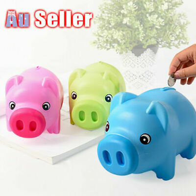 Toy Kids Gift Coin Money Save Openable Box Pig Cash Tin Piggy Bank Plastic Cute