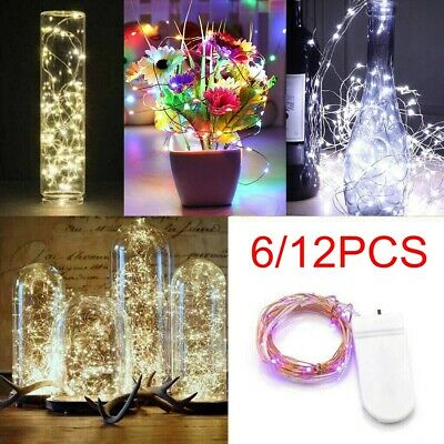 6/12PCS 2M 20 LED Battery Micro Rice Wire Copper Fairy String Lights Party Xmas