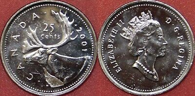 Brilliant Uncirculated 2001 Canada 25 Cents From Mint's Roll