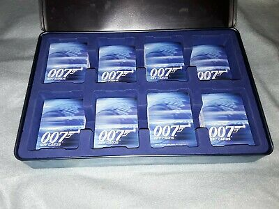 James Bond 007 Spy Cards In A Metal Tin. well over 375 cards in total.