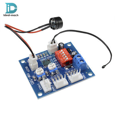 12V PWM Fan Temperature Speed Controller Module High Temp Alarm 5V Buzzer PC CPU
